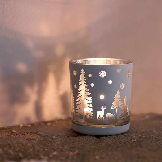 Woodland scene tea light holder product photo Front View - additional image 1 L