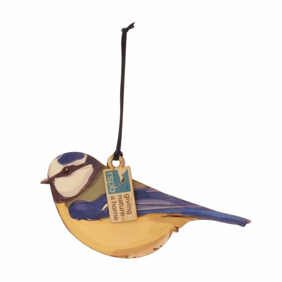 Wooden blue tit hanging decoration product photo Default L