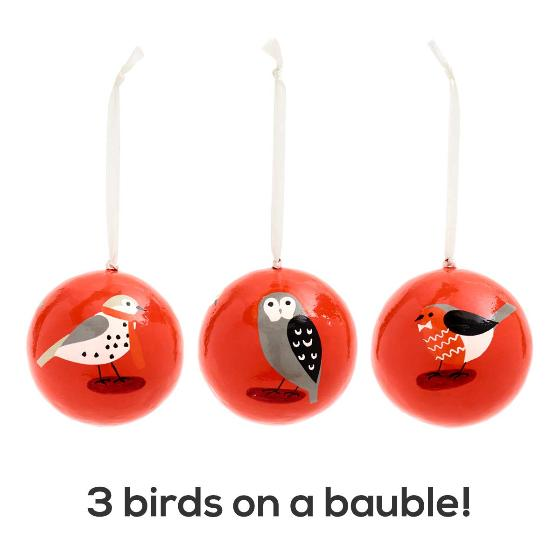 Winter birds robin bauble product photo Front View - additional image 1 L