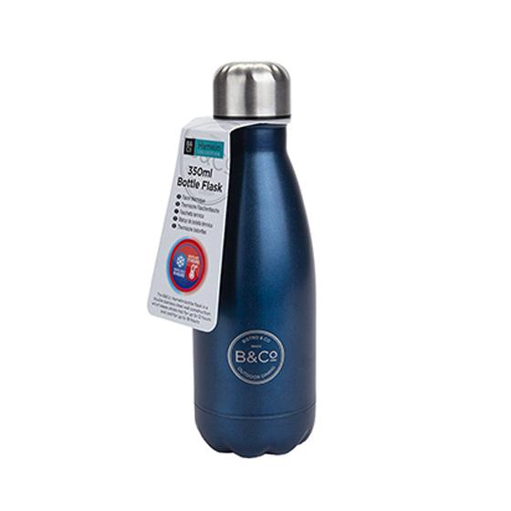 B&Co 350ml reusable bottle, metallic blue product photo Default L