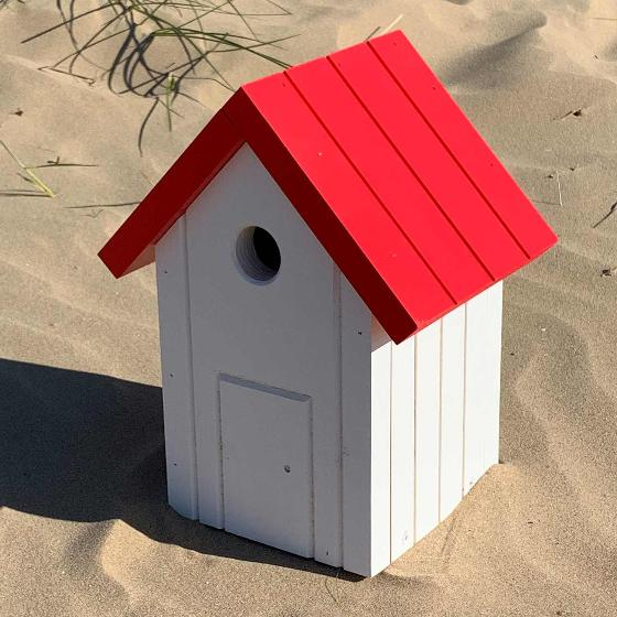 Beach hut nest box white and red product photo