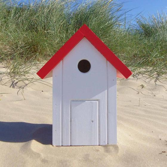 Beach hut nest box white and red product photo Side View -  - additional image 3 L