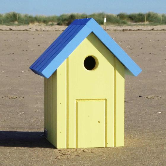 Beach hut nest box yellow and blue product photo