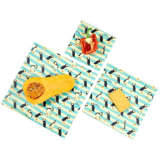 Beeswax food wrap pack of 3, puffin product photo Back View -  - additional image 2 L