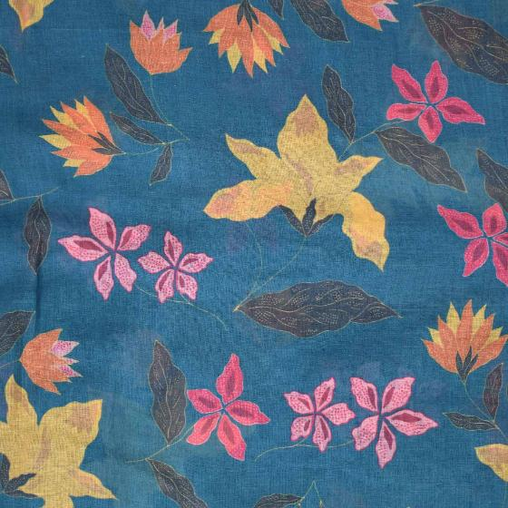 Blue batik flowers RSPB organic cotton scarf product photo Side View -  - additional image 3 L