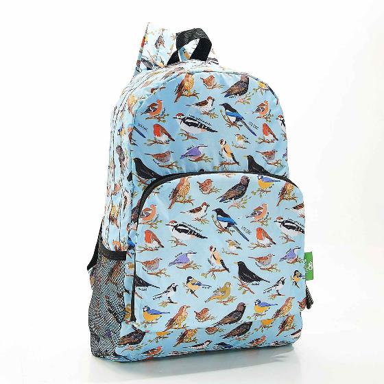 Foldaway backpack, garden birds design product photo Back View -  - additional image 2 L