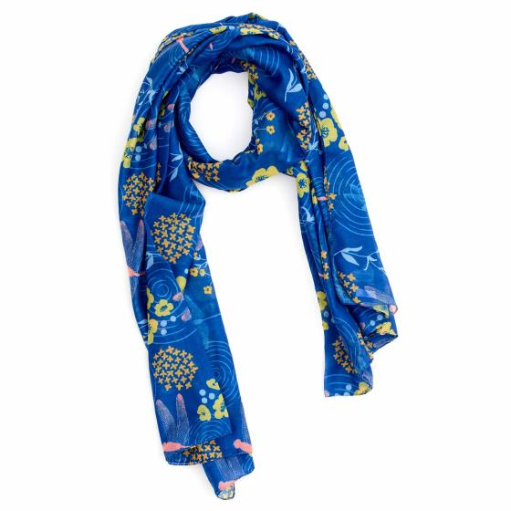 Dragonfly RSPB cotton scarf, royal blue product photo
