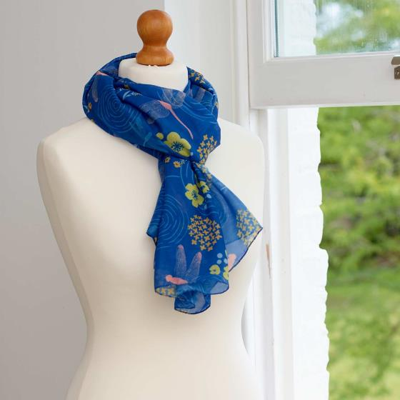 Dragonfly RSPB cotton scarf, royal blue product photo Back View -  - additional image 2 L