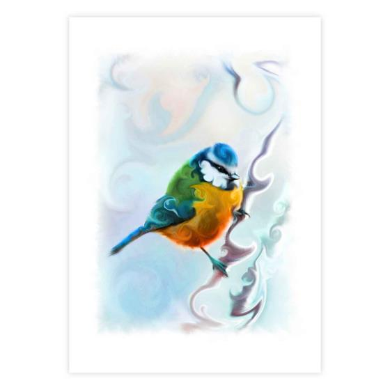 Bright-eyed blue tit mounted art print product photo Default L