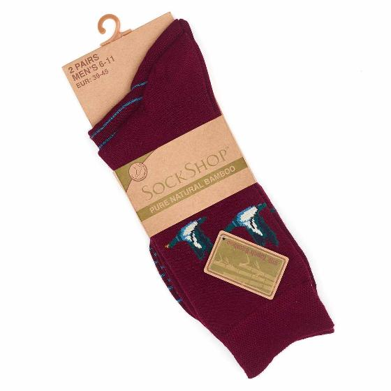 Men's 2 pack bamboo duck socks, claret product photo Side View -  - additional image 3 L