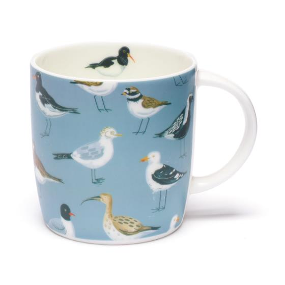 Coastal birds bone china mug - Seabirds blue design product photo