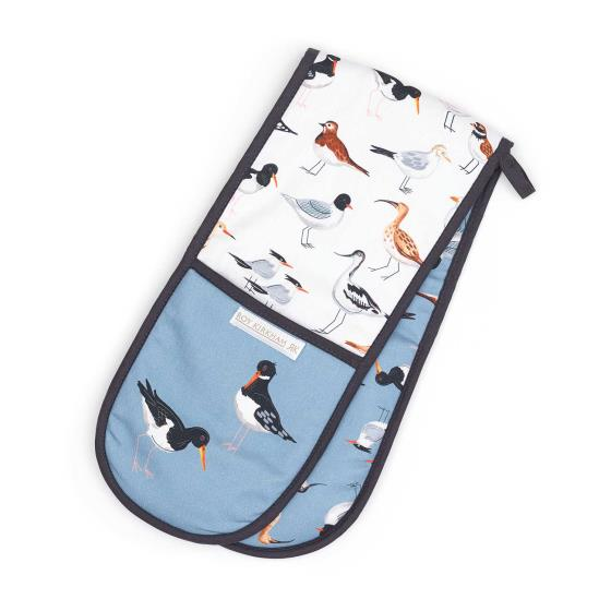 Coastal oven glove with seabirds and waders product photo Front View - additional image 1 L