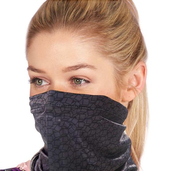Snood face mask, dark geometric design product photo Front View - additional image 1 L