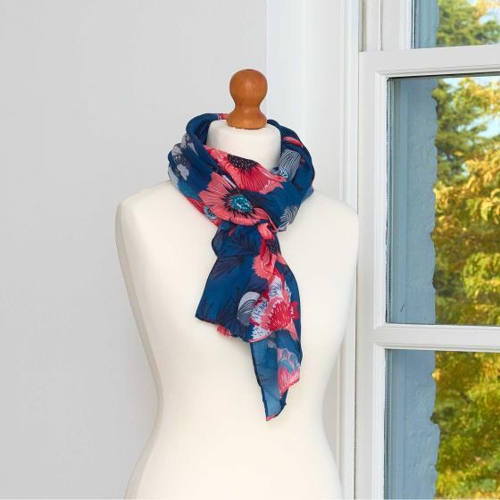 Dark teal floral scarf product photo