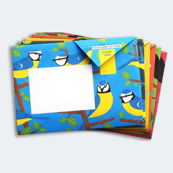 Eco-friendly stationery - 6 pack of Dawn chorus Pigeon letter papers product photo Side View -  - additional image 3 L