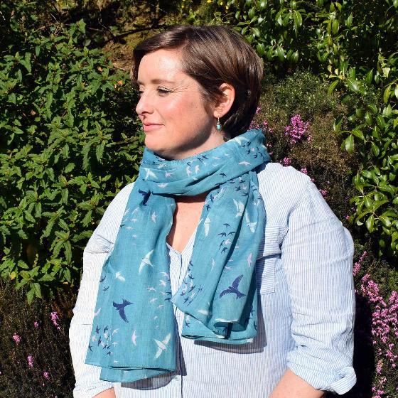 Duck egg blue murmuration RSPB organic cotton scarf product photo additional image 4 L