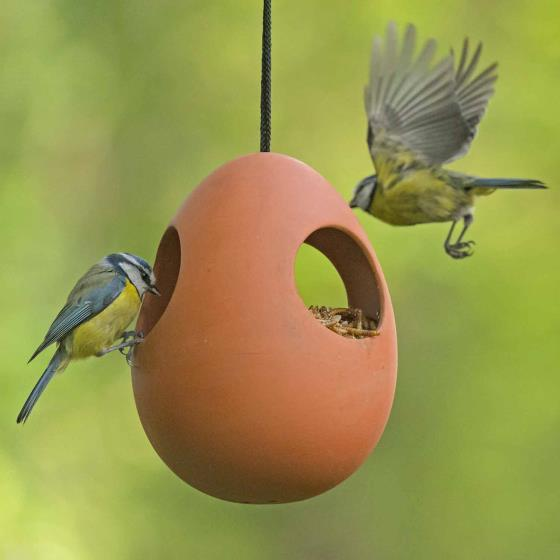 Egg terracotta bird feeder product photo Side View -  - additional image 3 L