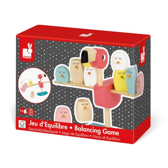 Flamingo balancing game - wooden toy product photo Front View - additional image 1 L