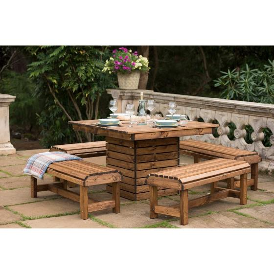 Table and benches patio set - RSPB Garden furniture, Lodge Collection product photo Back View -  - additional image 2 L