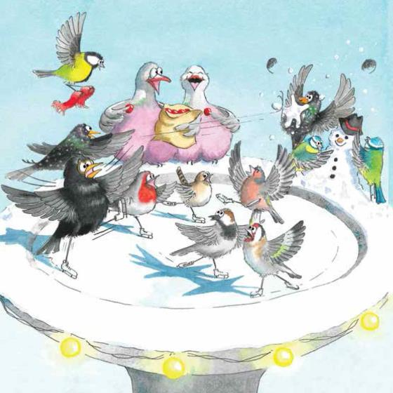 Get your skates on RSPB charity Christmas cards - 10 pack product photo Default L