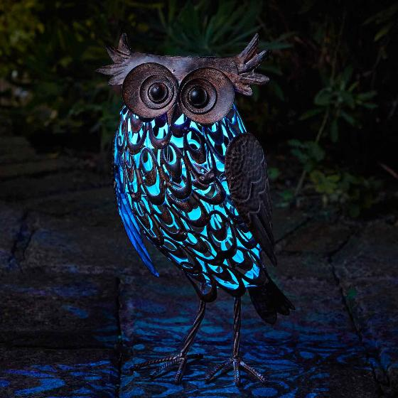Owl solar light, large product photo Front View - additional image 1 L