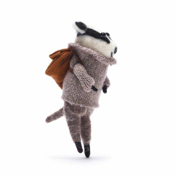 Gisela Graham winter badger decoration product photo Back View -  - additional image 2 L