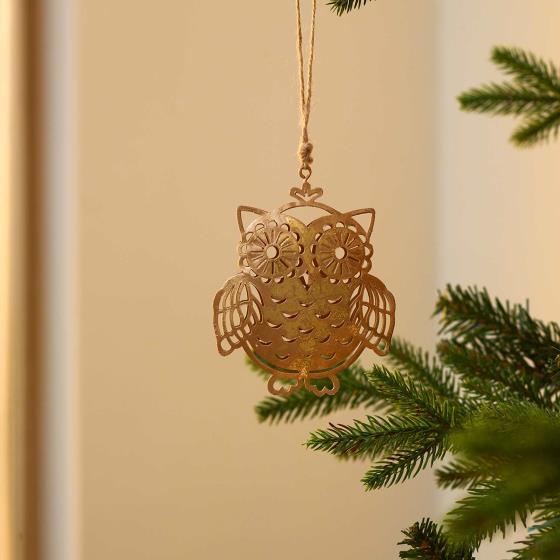 Gold metal owl decoration product photo Side View -  - additional image 3 L