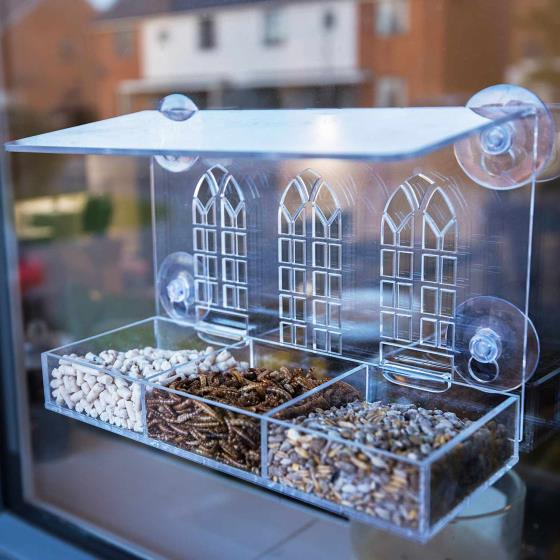 Gothic arch window feeder with 1kg Buggy nibbles product photo Side View -  - additional image 3 L