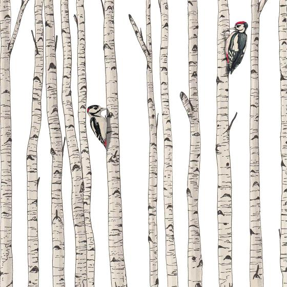 Woodpeckers in a birch forest card product photo Default L
