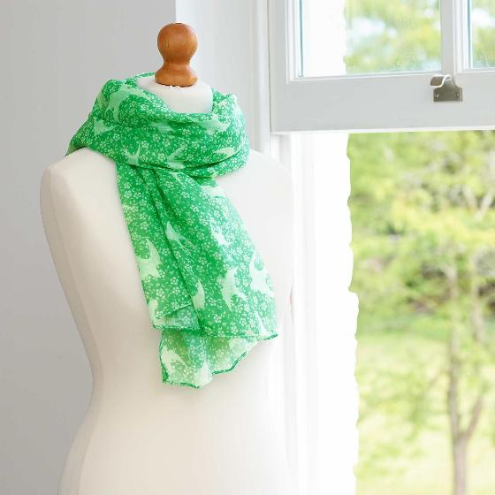 Swift ditsy RSPB cotton scarf, green product photo Back View -  - additional image 2 L