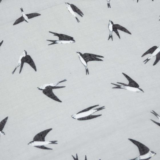 Grey birds print scarf product photo Back View -  - additional image 2 L