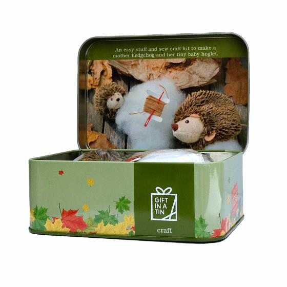 Hedgehog and hoglet sewing kit in a tin product photo Front View - additional image 1 L