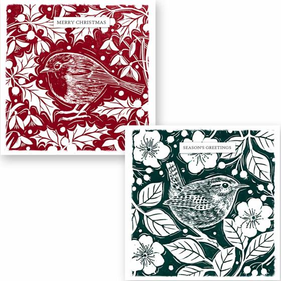 Holly and bird RSPB charity Christmas cards - 10 pack product photo