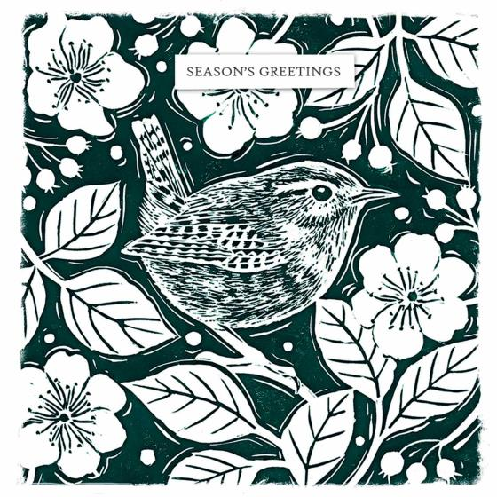Holly and bird RSPB charity Christmas cards - 10 pack product photo Back View -  - additional image 2 L