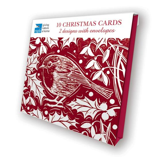 Holly and bird RSPB charity Christmas cards - 10 pack product photo Front View - additional image 1 L