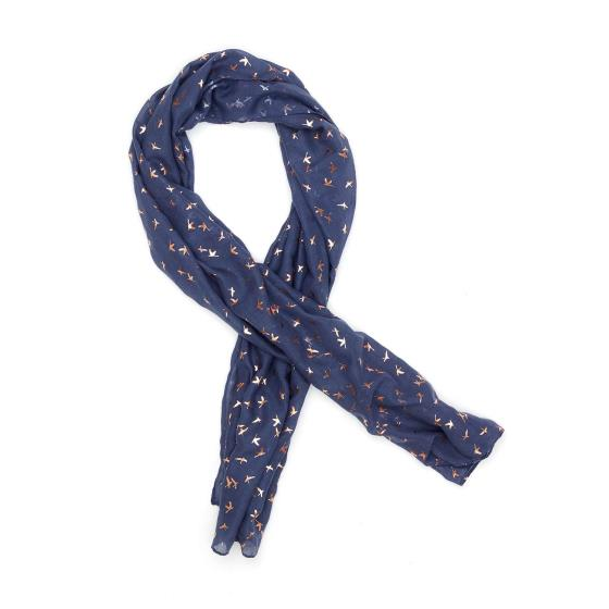 Indigo bronze birds scarf product photo Front View - additional image 1 L