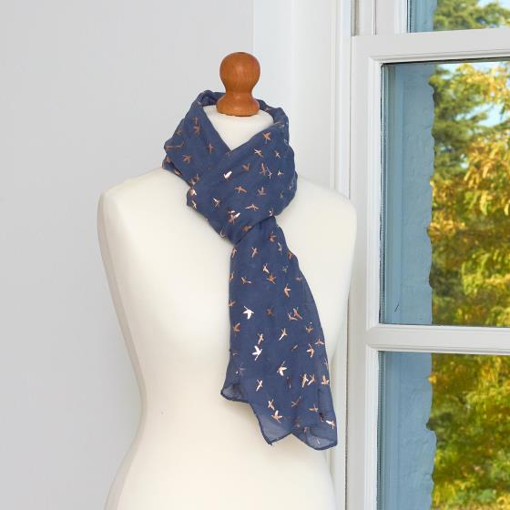 Indigo bronze birds scarf product photo Side View -  - additional image 3 L