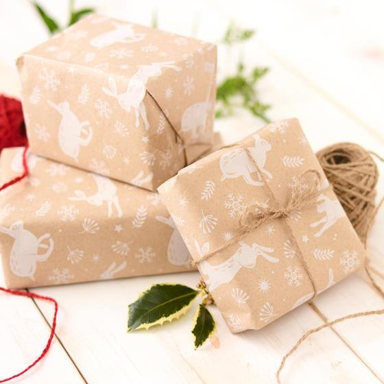 Leaping hare recycled wrapping paper, 5 metres product photo