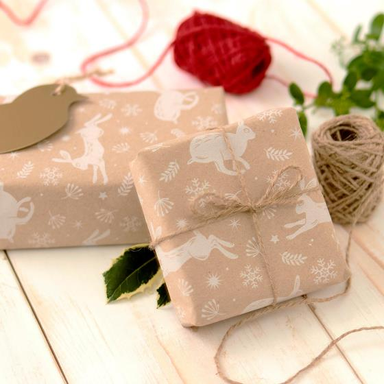 Leaping hare recycled wrapping paper, 5 metres product photo Side View -  - additional image 3 L