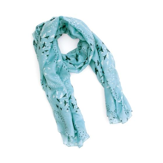 Starling murmuration RSPB cotton scarf, light blue product photo