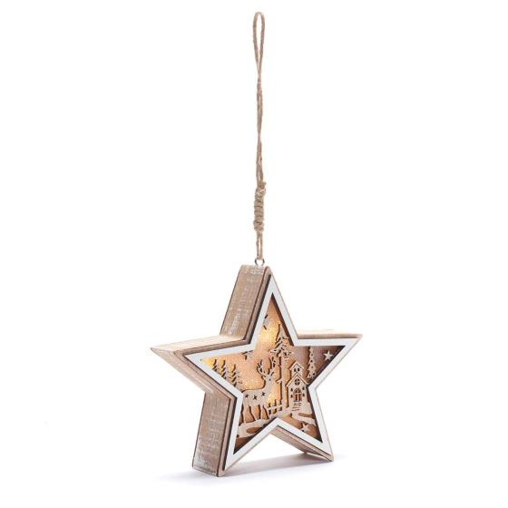 Light up star wooden decoration product photo