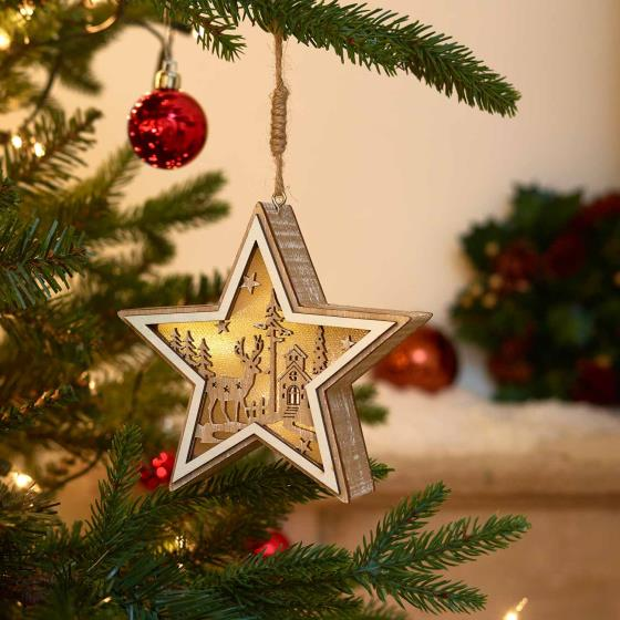 Light up star wooden decoration product photo Side View -  - additional image 3 L
