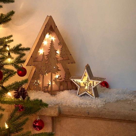 Light up star wooden decoration product photo Back View -  - additional image 2 L