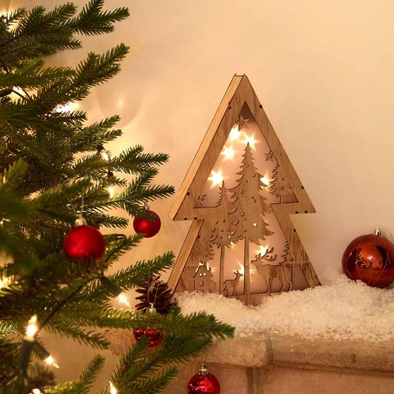 Light up tree wooden decoration product photo Side View -  - additional image 3 L