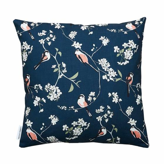 Lorna Syson cushion navy long-tailed tit product photo