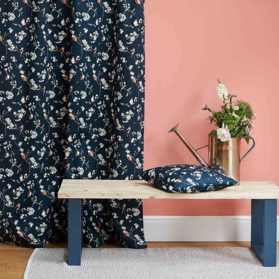 Lorna Syson fabric, navy long-tailed tit product photo Side View -  - additional image 3 L