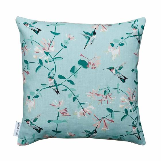 Lorna Syson cushion mint hummingbird product photo