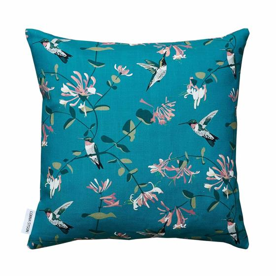 Lorna Syson cushion teal hummingbird product photo