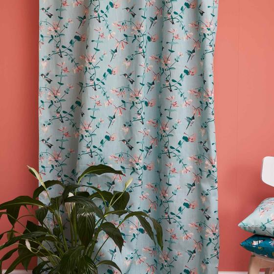 Lorna Syson fabric, mint hummingbird product photo Side View -  - additional image 3 L