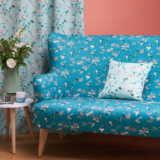 Lorna Syson fabric, teal hummingbird product photo Side View -  - additional image 3 L